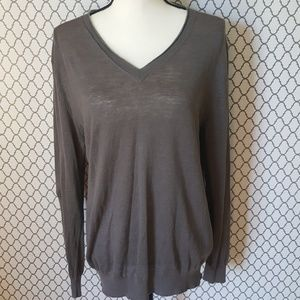 🍁Hugo Boss Gray V-Neck Linen Sweater Size XL